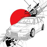 Rally Car Line Art. With sun red japan background illustration Stock Image