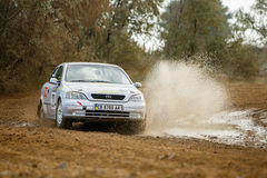 Rally car in motion Royalty Free Stock Image