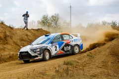 Rally car in motion Stock Photos