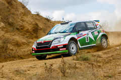 Rally car in motion Royalty Free Stock Images