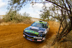 Rally car in motion Royalty Free Stock Photography