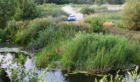 Rally car near a swamp Stock Photography