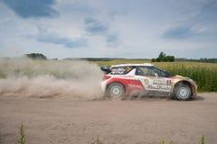 Rally car race in 71st Rally Poland. MIKOLAJKI, POLAND - JUN 28: Kris MEEKE and his codriver Paul NAGLE in a Citroen DS3 WRC race in the 71st Rally Poland, on Royalty Free Stock Photo