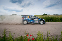 Rally car race in 71st Rally Poland Royalty Free Stock Image