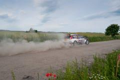 Rally car race in 71st Rally Poland. MIKOLAJKI, POLAND - JUN 28: Ott TANAK and his codriver Raigo MOLDER in a Ford Fiesta R5 race in the 71st Rally Poland, on Stock Images