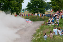Rally car race in 71st Rally Poland Stock Image