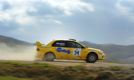 Rally car running fast Stock Images