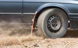 Rally Car speed in dirt road Stock Photos