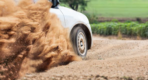 Rally Car speed in dirt track Royalty Free Stock Images