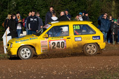 Rally car on stage Stock Photo