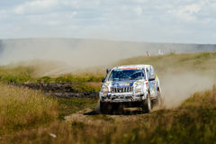 Rally car Toyota driving on a dust road among grass Stock Image