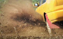 Rally car turning in track Royalty Free Stock Images