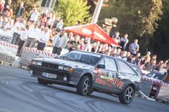 Rally car during urban race Stock Photos