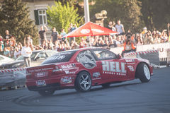 Rally car during urban race Stock Photo