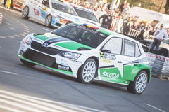 Rally car during urban race Stock Image