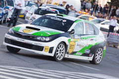 Rally car during urban race Royalty Free Stock Photos