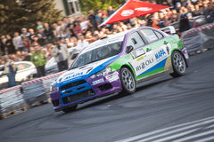 Rally car during urban race Stock Photography