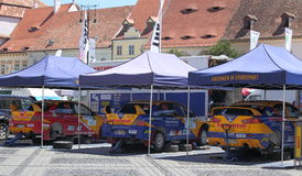 Rally cars in the city centre Stock Photo
