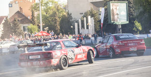Rally cars during urban race Stock Photos
