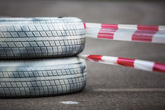Rally championchip and tires Stock Photos