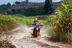 RALLY. CHIANG MAI, THAILAND - OCT 2: Unknown Motorcycle driver piloting his Motocross on the tracks, Oct 2, 2016 in Chiang Mai, Thailand Royalty Free Stock Photography