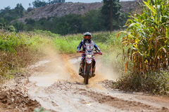 RALLY. CHIANG MAI, THAILAND - OCT 2: Unknown Motorcycle driver piloting his Motocross on the tracks, Oct 2, 2016 in Chiang Mai, Thailand Royalty Free Stock Images