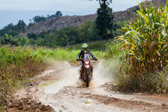RALLY. CHIANG MAI, THAILAND - OCT 2: Unknown Motorcycle driver piloting his Motocross on the tracks, Oct 2, 2016 in Chiang Mai, Thailand Stock Photography