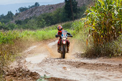 RALLY. CHIANG MAI, THAILAND - OCT 2: Unknown Motorcycle driver piloting his Motocross on the tracks, Oct 2, 2016 in Chiang Mai, Thailand Stock Image