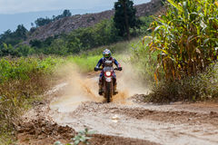 RALLY. CHIANG MAI, THAILAND - OCT 2: Unknown Motorcycle driver piloting his Motocross on the tracks, Oct 2, 2016 in Chiang Mai, Thailand Royalty Free Stock Image