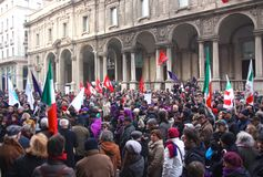 Rally in defence of the Italian Constitution, Mila Royalty Free Stock Images