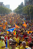 Rally demanding independence for Catalonia in Barcelona, Spain Royalty Free Stock Photos