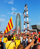 Rally demanding independence for Catalonia Stock Photos