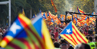 Rally demanding independence for Catalonia Royalty Free Stock Image
