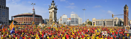 Rally demanding to vote in a referendum for the independence of. BARCELONA, SPAIN - SEPTEMBER 11: 1.8 million people demand to vote in a referendum for the Royalty Free Stock Photography