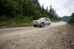 Rally on a dirt road. Royalty Free Stock Photos