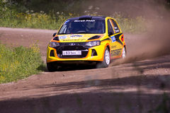 Rally on a dirt road stock image