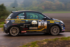 Rally. FLEINHEIM, GERMANY – OCTOBER 5, 2013: Florian Niegel and Thomas Fuchs driving their Opel Adam at the ADAC Rallye Baden-Württemberg on October 5, 2013 Stock Photography