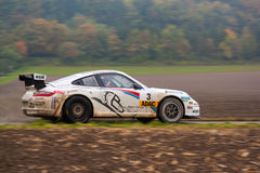 Rally. FLEINHEIM, GERMANY – OCTOBER 5, 2013: Timo Bernhard and Michael Kölbach driving their Porsche 911 GT3 at the ADAC Rallye Baden-Württemberg on October Royalty Free Stock Photos