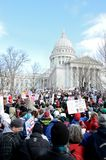 Rally in Madison Wisconsin. Workers protest outside the capitol in Madison, Wisconsin, against a bill proposed by Governor Walker aimed at curtailing public Stock Images