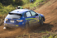 Rally motorcar in action Royalty Free Stock Image