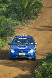 Rally motorcar in action Stock Photos