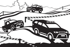 Rally with off-road vehicles on the terrain. Vector illustration Stock Photography
