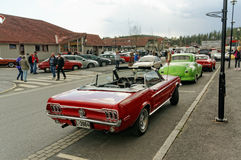 Rally of old cars. Grimstad, Norway - 1 May 2015: Rally of old cars at American cars show AmCar monstring Stock Photo