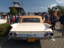 Rally of old cars. V Rally Old Samochodówr, Myslowice September 2014. The photo shows the back of the car: Cadillac cream-colored royalty free stock images