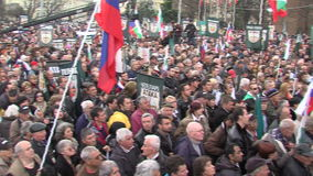 Rally Party Attack in the center of Sofia, Bulgaria stock footage