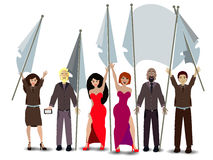 Rally. people with flags. illustration Stock Photo