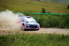 Rally Poland 2014. Hayden Paddon on stage of Rally Poland 2014 stock photography
