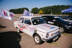 Rally on production cars on October 10, 2018 in the city of Cherkasy, Ukraine. Free admission. In the open air royalty free stock image
