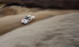 Rally race. Car pictured with slow shutter speed from abowe during rally race in Croatia Stock Images