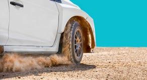 Rally racing car on dirt track. Close up rally racing car on dirt track royalty free stock image